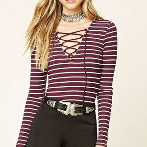 Forever 21 Long Sleeve Stripe Lace Up Shirt Maroon
